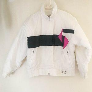 80's Vintage Ski Jacket Retro White Black Pink